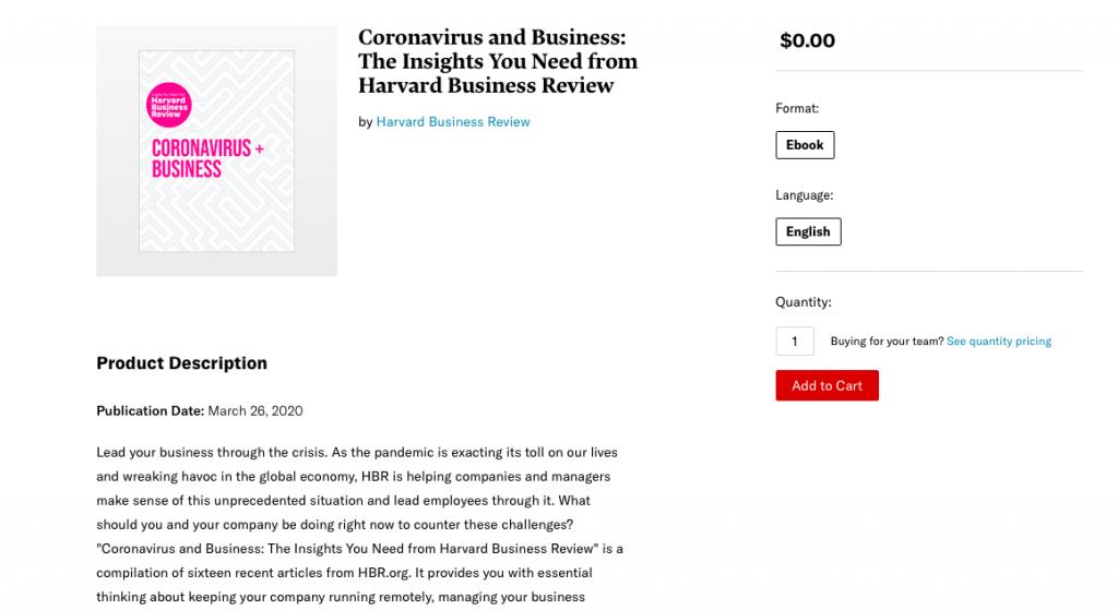 Harvard Business Review Coronavirus free e-book